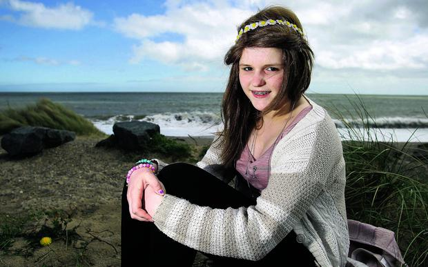 Fifteen year old Lora Doyle from Arklow who has been given the all clear from Cancer , pictured on Arklow's South Beach yesterday.