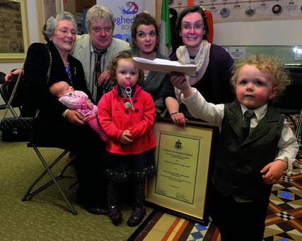 Sgt Morrissey's wife Bernadette, son Martin, daughters Aideen and Mary and grandchildren Matilda, Hazel and Lochlann