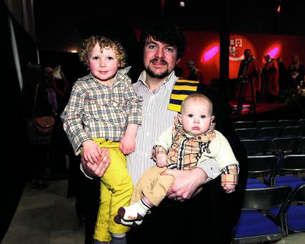 Graduate Patrick Robertson with his children Logan and Fionn Robertson from Beal Ná Blath at the first Cork Institute of Technology Cloud Computing graduation in the CIT Bishopstown Campuss, Cork