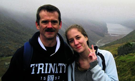 Chris Hadfield and daughter Kristin in the Wicklow Mountains