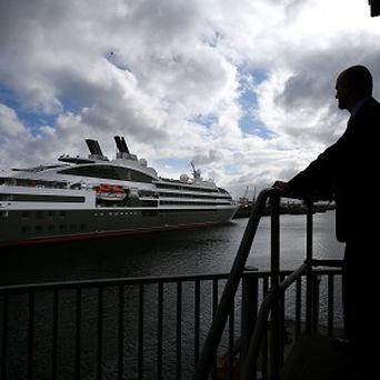 Dublin Port Company CEO Eamonn O'Reilly looks towards Le Boreal cruise liner, the first to berth at the East Link bridge as part of the 2013 season