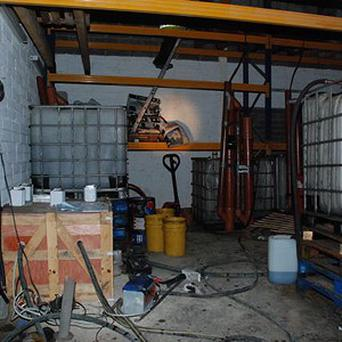 The oil laundering plant is the first discovered in Dublin (Customs Service/PA)