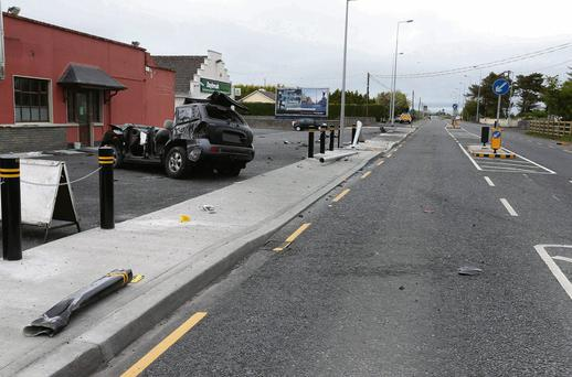 The scene where a car driven by 24-year-old Martin Naughton hit a traffic island at Knockdoe, Co Galway