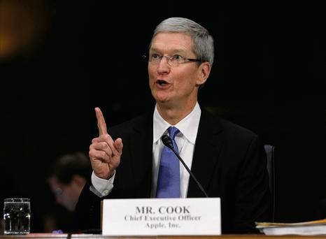 Apple CEO Tim Cook testifies at a Senate homeland security and governmental affairs investigations subcommittee hearing