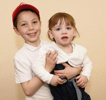 Harry Flynn (8) from Waterford with his little sister Isabelle
