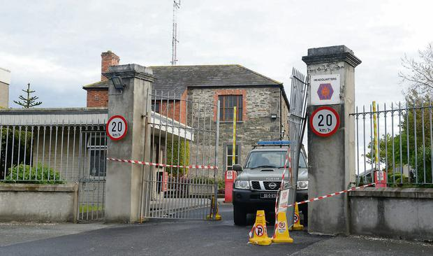 The gates of Aiken Barracks in Dundalk, Co Louth, which were damaged as the truck was rammed through