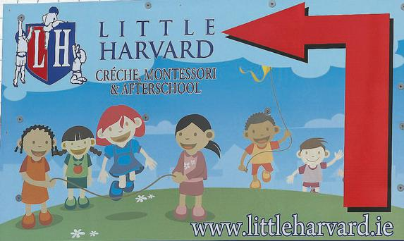 Signage for the Little Harvard Creche, Montessori and Afterschool in Rathnew Co Wicklow. Pic Frank McGrath