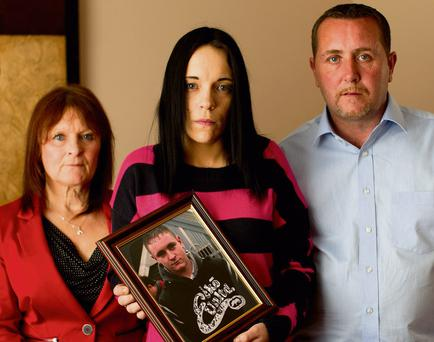 Dean Fitzpatrick's aunt Christine, partner Sarah O'Rourke and father Christopher at their home in Donaghmede. Phtoo: Gerry Mooney
