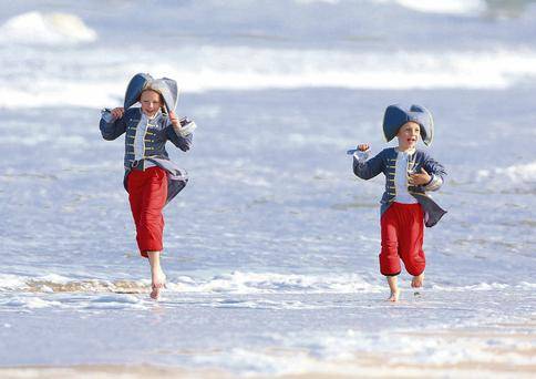 Sophie Gulliver (8) and her brother Ben making a splash at yesterday's launch of the John Barry Maritime Festival, which will take place in Wexford town from June 20 to 23