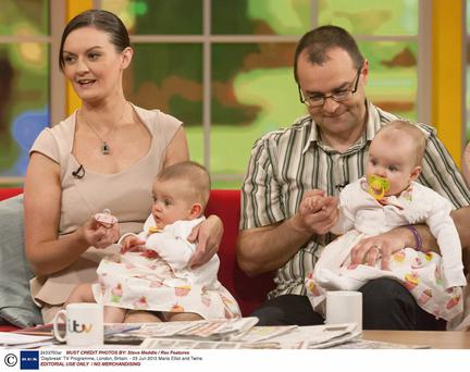 Maria Jones Elliot and her husband Chris with Amy and Katie on ITV's 'Daybreak' show