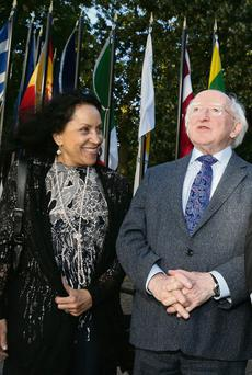 Elisabeth Costa, IFJ General Secretary and President Michael D Higgins, at the IFJ World Congress