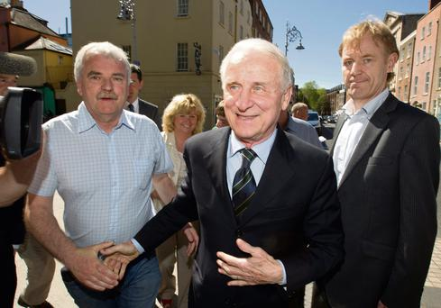 Giovanni Trapattoni meets members of the Oireachtas Republic of Ireland Supporters' Club, including Finian McGrath