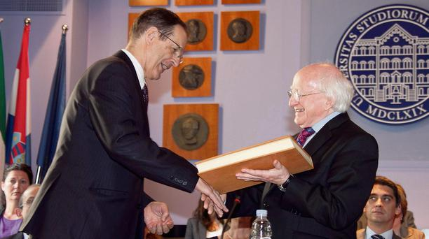 News 06062013. No Repro Fee Pictured is President of Ireland Michael D Higgins presenting a facsimile of the Book of Durrow to Prof. Dr. Aleksa Bjelis, Rector of the University of Zagreb during the Presidents 3 day state visit to the Republic of Croatia. Photo Chris Bellew / Fennells.