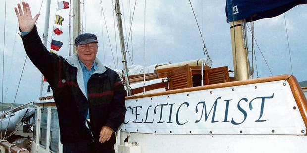 Charles Haughey pictured aboard his boat 'The Celtic Mist
