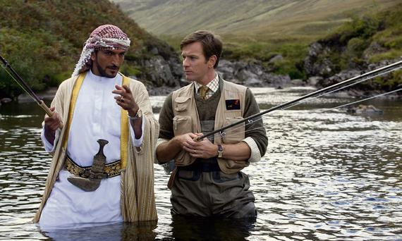 FISHY GOINGS-ON: Amr Waked and Ewan McGregor in 'Salmon Fishing in the Yemen'.
