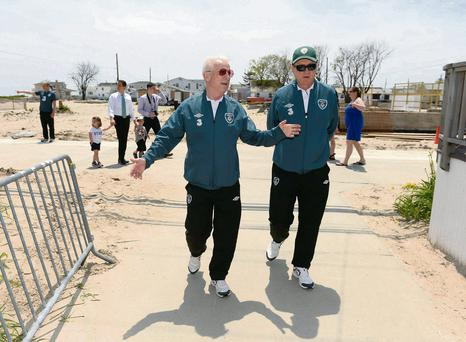 Republic of Ireland manager Giovanni Trapattoni with fitness coach Faosto Rossi during a visit to Breezy Point, Queens