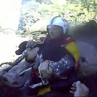 Howth RNLI rescuing a dog after he fell 200ft from a cliff in north County Dublin (Howth RNLI/PA)