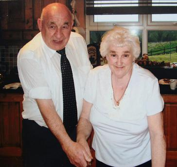 Angela Sheelan with her husband Jimmy on their wedding anniversary a few years ago