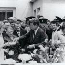 JFK with Mary Ann Ryan (with teapot) at a tea party in his ancestral town of Dunganstown, Co Wexford
