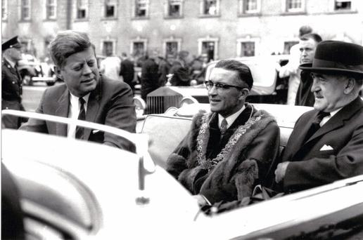 JFK and Cork's lord mayor Sean Casey arrive at City Hall