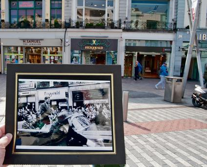 A photo of JFK from his visit to Cork June 28th 1963, at the spot where his parade drove down Patrick's Street.