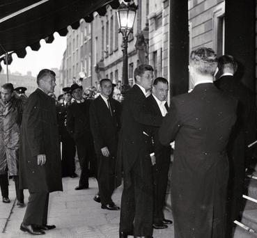 JFK and Seán Lemass arrive in tuxedos at Iveagh House the night before the dinner at the Aras.