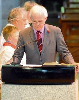 15-06-2013: Fionnbarr Walsh speaking at the months mind mass for the late Donal Walsh at St. John's Church Tralee on Saturday. Picture: Eamonn Keogh (MacMonagle, Killarney)