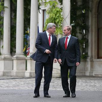 Canada's Prime Minister Stephen Harper with Taoiseach Enda Kenny at Farmleigh House, Dublin, ahead of the G8 summit