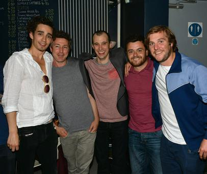 The cast of Love/Hate, both alive and dead, with Tom Vaughan Lawlor (centre) after his performance in the Mark O'Rowe play 'Howie The Rookie' at the Project Arts Centre, Dublin. Left to right: Robert Sheehan, Aidan Gillen, Tom Vaughan Lawlor (Nidge), Laurence Kinlan, and Peter Coonan