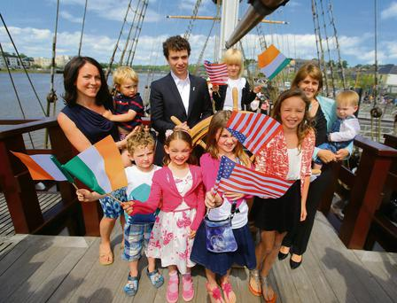 Kennedy relatives on the Dunbrody Famine Ship in New Ross: front from left, Eanna Grennan, Lucy Ann Grennan, Rowan Kennedy, Mary Kennedy. Back from left, Siobhan Grennan, Donagh Grennan, Max Kennedy Jr, Harpur Kennedy, Amy and Owen Kennedy.