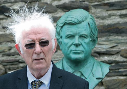 Seamus Heaney speaks at the unveiling of a bust of Ted Kennedy at the official opening of the visitor centre at the Kennedy Homestead in Dunganstown, Wexford.