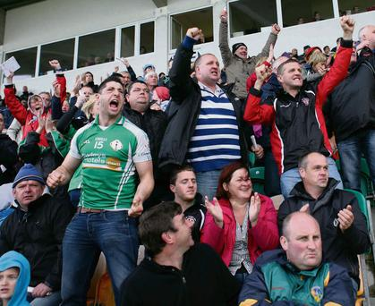 Supporters celebrate a London score during yesterday's Connacht championship semi-final in Carrick-on-Shannon