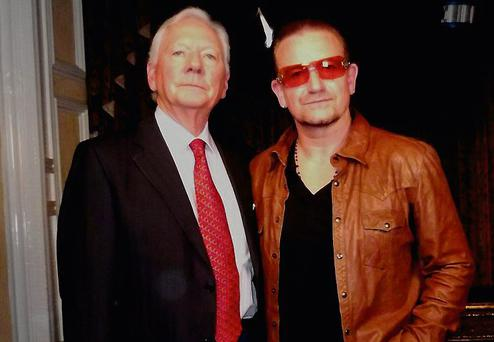 Broadcaster Gay Byrne with Bono, who opened up about his faith and his father's illness