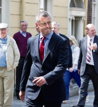 Colm Keaveney outside Leinster House in Dublin after he quit as chairman and member of the Labour