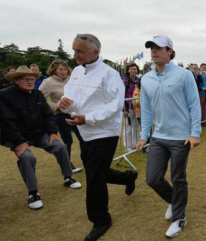 Rory McIlroy walks from the practice area at Carton House yesterday