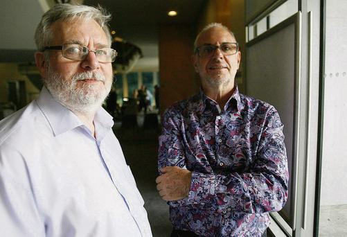 Dr Philip Nitschke (right) with Tom Curran at the euthanasia workshop in Liberty Hall, Dublin.