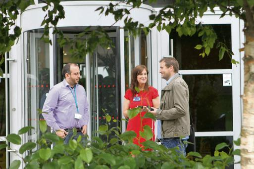 Members of staff outside the HP offices in Sandyford, Dublin