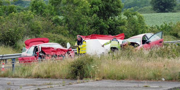 The scene of the fatal crash between two cars on the N25 Cork to Midleton dual-carriageway