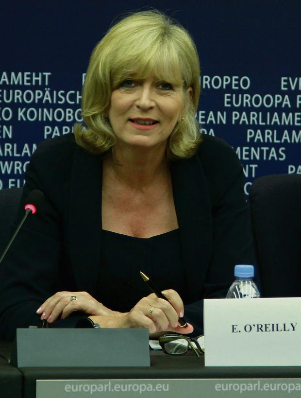 Emily O'Reilly at a press conference after she was confirmed as the new European Ombudsman