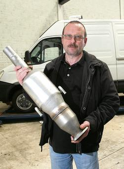 Wally Gavin, Iveco service manager at BOD Support Services, with one of the catalytic converters