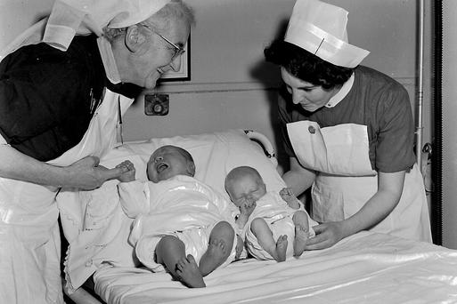 In 1965 Kerry's biggest baby was born in Nurse Seymour's in Killarney weighing a whopping 15.5lbs. Charlie Nelligan grew up to be Kerry's greatest goalkeeper, winning seven All-Ireland medals and is pictured beside another baby born on the same day