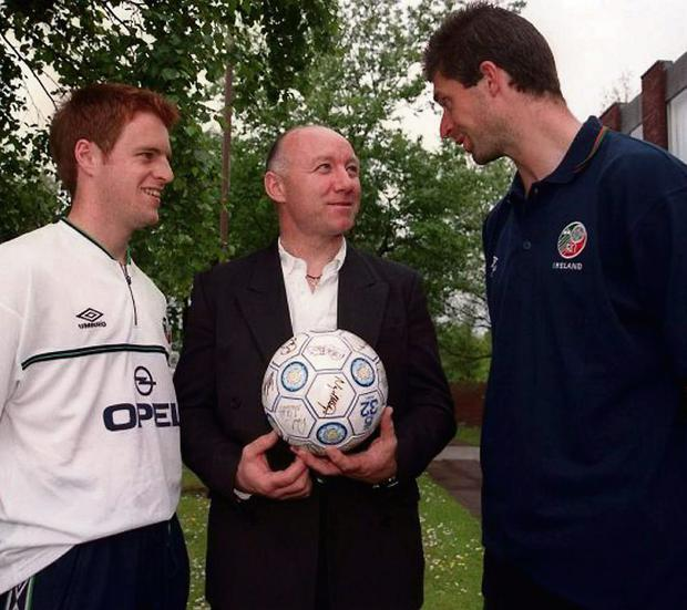 Dave Langan (centre) with former internationals Alan Maybury and Niall Quinn