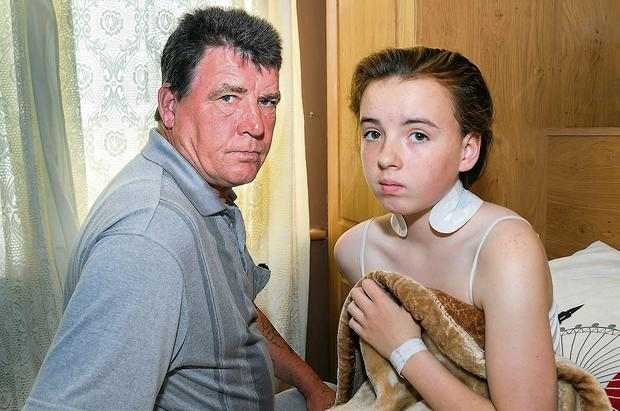 Shannon Cawley, who was struck by a car, and her father Martin.