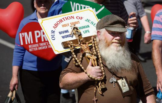 MESSAGE: A pro-life marcher at yesterday's demonstration.