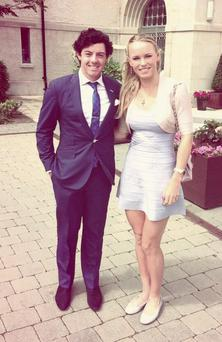 Rory McIlroy and Caroline Wozniacki at a friend's wedding
