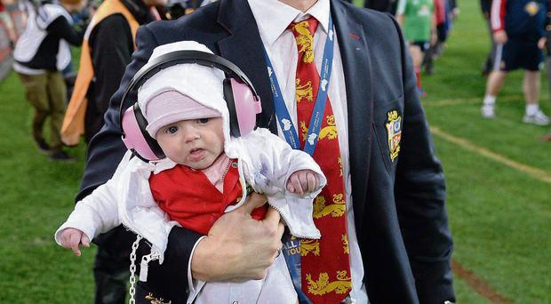 Brian O'Driscoll, pictured with daughter Sadie following the Lions' victory in Sydney, now wants a fringe like Mayo's Aidan O'Shea