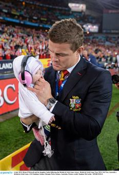 Brian O'Driscoll and his daughter Sadie following the British & Irish Lions victory
