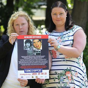 Antoinette Smith's children Lisa, left, and Rachel at Bray Garda Station for a press conference on their mother's murder in 1987