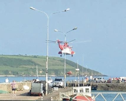 Rescue attempt: Coastguard helicopter at the scene