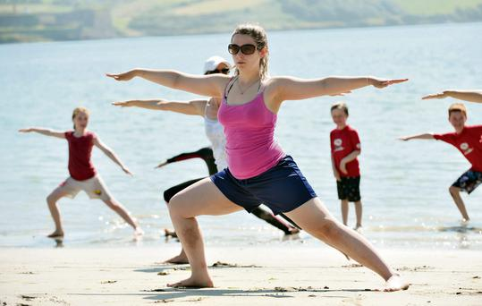 Yoga on Castlepark beach in Kinsale
